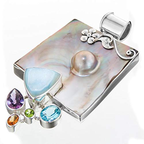 - 3 7/16'' MABE Mother of Pearl Shell Mixed GEMS 925 Sterling Silver Pendant YE-698