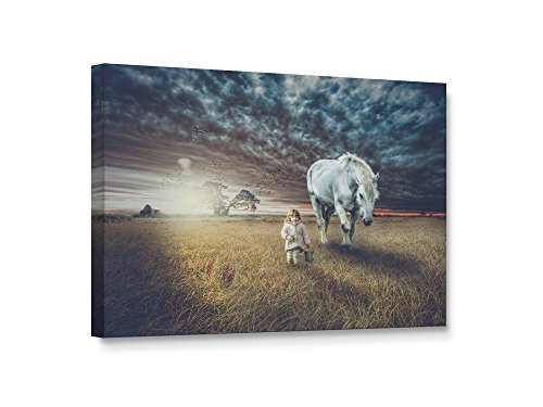 Niwo Art TM - Little Girl with Horse, Horse on Canvas, Giclee Wall Art for Home Decor, Gallery Wrapped, Stretched, Framed Ready to Hang (36