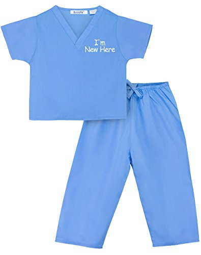 Scoots Kids Scrubs for Baby Boys, I'm New Here Embroidery, Blue, 0-6 - Scrubs New Large
