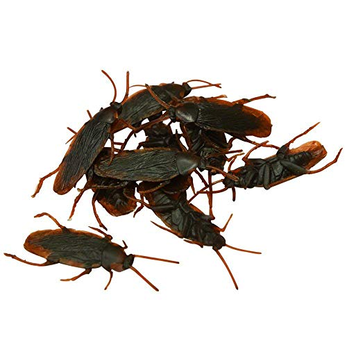Luxanna Fake Roach 100 Pack Toy Prank Novelty, Gag Gift, Perfect for Halloween April Fool's Day Party, Realistic Looking Toy for Kids (Fake Roach) -