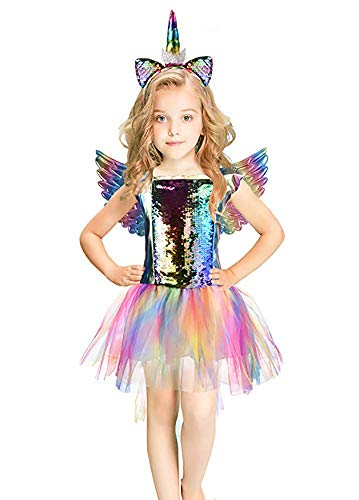 Rainbow Unicorn Costume Halloween Girls Dress Up Costumes for Party Special Occasion (L(8-10Years), Rainbow Braid)