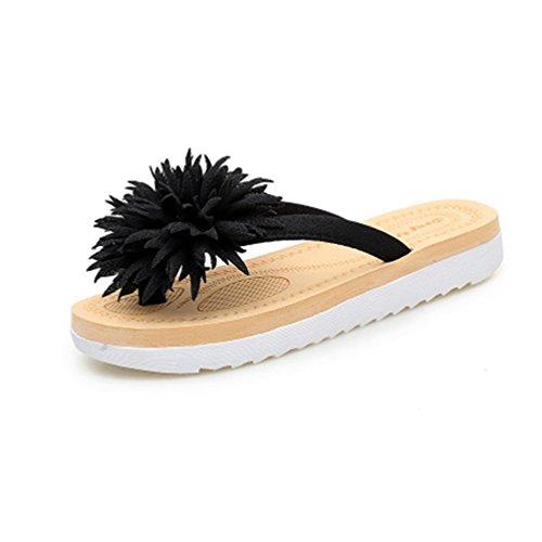 JRenok Femmes Fleur Plage Comfort Summer Noir String Frange Flat Sandales Tongs Bohème Mode Chaussons rrwTSqtd