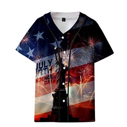 Homlifer 2019 Mens T-Shirts Summer USA Independence Day Star-Spangled Banner FlagStatue of Liberty Printed V-Neck Short T-Shirt Baseball Uniform Loose Casual Shirts ()