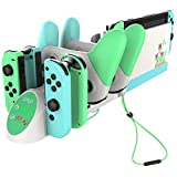Charging Dock for Nintendo Switch, Charging Station for Nintendo Switch Joy Cons and Nintendo Switch Pro Controllers with LED Indicator - GreenWhite (Color: White)