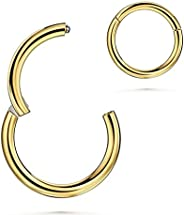 20G-18G-16G-14G-12G-10G 5/6/7/8/9/10/11/12/13/14/16mm 316l Surgical Steel Hinged Clicker Segment Septum Lip No