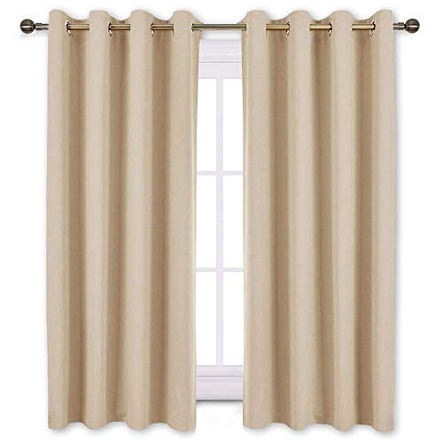 NICETOWN Bedroom Curtains Room Darkening Draperies - Biscotti Beige Room Darkening Drapes/Panels for Bedroom, Grommet Top 2-Pack, 52 x 63 Inch Long, Thermal Insulated, Privacy Assured