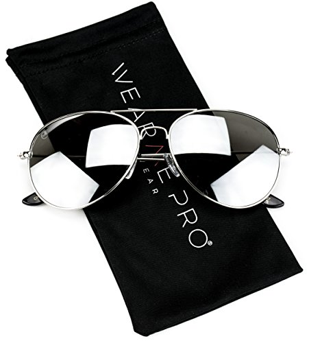 - Aviator Full Silver Mirror Metal Frame Sunglasses