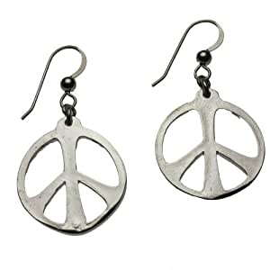 Tamaño mediano paz símbolo silver-dipped pendientes en francés ...