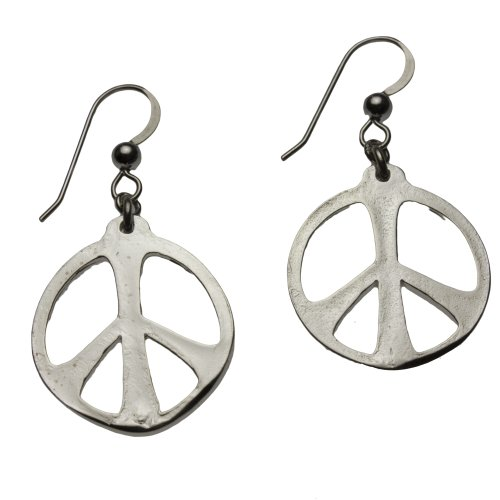 Pendant Cast Gold Wire Dangle (Medium Peace Symbol Silver-dipped Earrings on French Hooks)