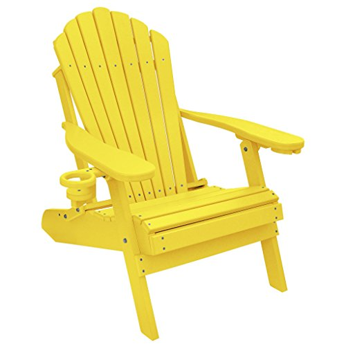 ECCB Outdoor Outer Banks Deluxe Oversized Poly Lumber Folding Adirondack Chair (Yellow) ()