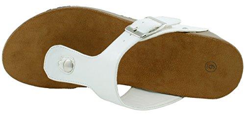 Cambridge Velger Kvinners Piggdekk T-stroppespennen Tanga Plattform Kile Sandal Hvit