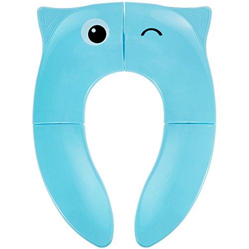 Lictin Nueva versión Asiento de inodoro plegable portátil de viaje Tocador para bebé y tocador con 4 almohadillas...