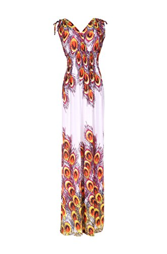 1 Women's Maxi Peacock Sleeveless Orange amp; Print White 2LUV Antique Paisley Dye Tie Dress OZyxTAqd