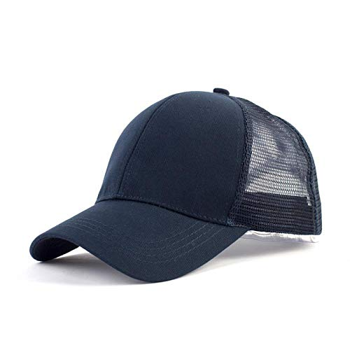 fanhangxuan Summer Ladies hat Ponytail Baseball net hat Section Cotton Rear Opening Solid Color with Cap, Blue, Adjustable ()