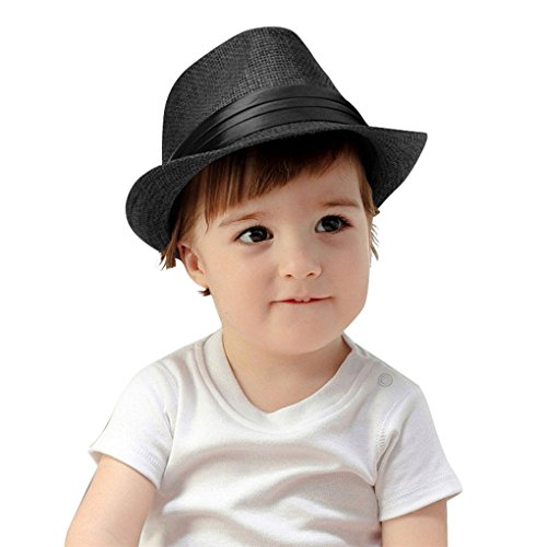 KEA KEA Kids Summer Fedora Hat Classic Vintage Panama Short Brim Straw Fedora Hat Black]()