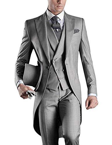 (Prom Tuxedo Suits Formal Dress for Men 2019 One Button Blazer Tux Vest & Trousers Vintage Tailcoats Jacket Grey)
