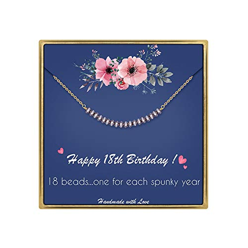 IEFLIFE 18th Birthday Gifts for Girls - Crystal Beads Necklace Girl Birthday Gifts Best Friend Birthday Gifts Beaded Bar Necklace 18 Year Old Girl Gifts Birthday Gifts for Sister, Daughter, Niece (Birthday Gift For 18 Year Old Niece)