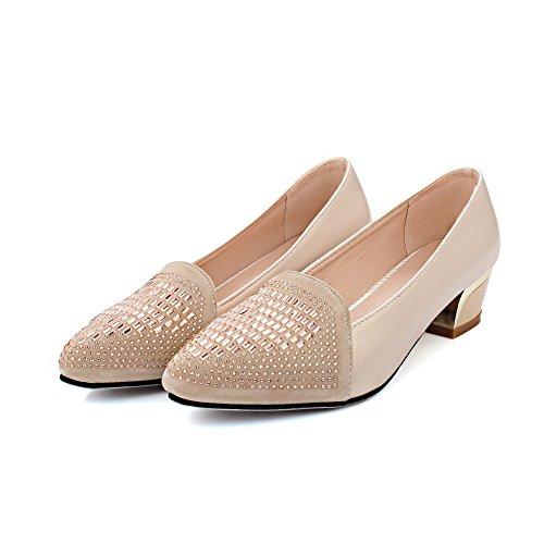 AllhqFashion Damen Ziehen auf Niedriger Absatz Blend-Materialien Eingelegt Pumps Schuhe Cremefarben