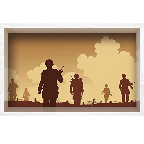 - iPrint 3D Depth Illusion White Wood Frame Style Home Decor Art, Vinyl Wall/Floor Decal Sticker,Military Costumes and Weapons Walking on Patrol,35.4