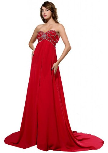 Orifashion para vestido de noche mujer a forma de color rojo Rojo