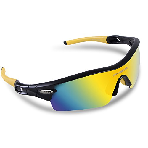 RIVBOS 805 POLARIZED Sports Sunglasses with 5 Set Interchangeable Lenses for Cycling (Black & Yellow)