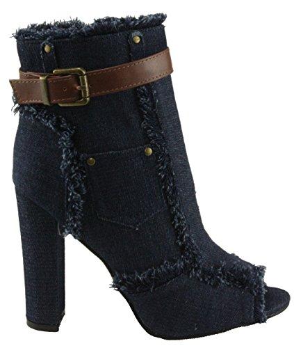 Stivaletti Toe Tallone Scuro Tessuto Blu 10 Delle Forever block Caviglia Sherry alto Denim Donne Peep vpzqTx
