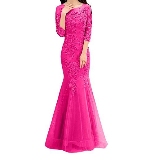 Pink Festlichkleider Langarm Damen Rosa Dunkel Trumpet Charmant Spitze Meerjungfrau Etuikleider Abendkleider PFwHCnqnv