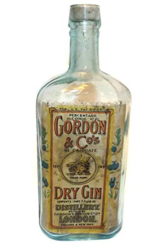 Antique Pre-Prohibition Gordon & Co.'s Dry Gin Pale Aqua Glass Liquor Bottle w/Label