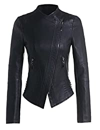 Benibos Womens Faux Leather Zip Up Moto Biker Jacket