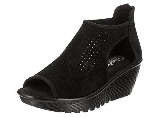 Skechers Women's, Parallel Beehive Wedge Sandals Black 7 M by Skechers