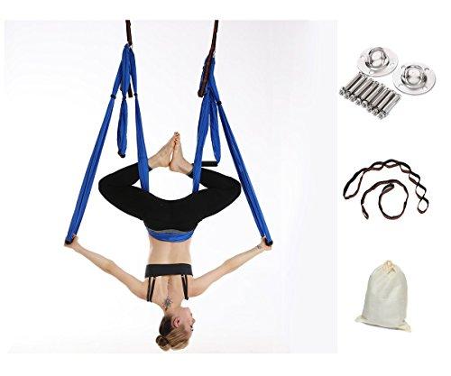 Gpeng Aerial Flying Yoga Hammock Set - Yoga Swing / Inversion / Sling Hammock with 2 Daisy Chain Adjustable Straps + All Installation Hardward + Installation Guide (Blue)