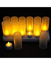 12pcs Rechargeable Flameless Candles + Frosted Cups + Charging Hub - LED Flickering Tea Lights - Batteries Included Electric tealights (Without Remote Controller)