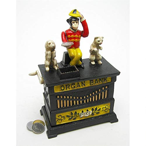 Design Toscano Organ Grinder's Performing Monkey Authentic Foundry Iron Mechanical Bank by Design Toscano
