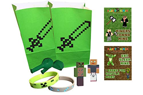 Pixel Party Toys Miner-Themed Party Favor Bag Add-On Set (2-Pack) - Birthday Party Supplies Kit Includes Goody Bags, Stickers, Wristbands, Mini Character Toys, Balloons