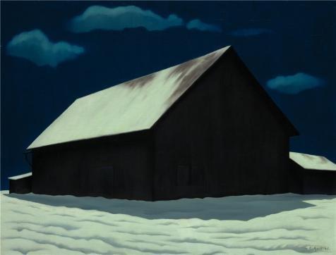 ジョージ・Copeland Ault、1月フル月、1941`油絵、30x 39インチ/ 76x 100CM、の印刷ポリエステルキャンバス、この模造品アートDecorativePrintsキャンバスのis forロビー装飾、ホームとギフトにピッタリの商品画像