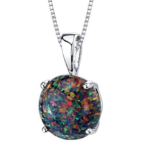 14 Karat White Gold Created Black Opal Solitaire Pendant