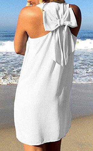 Robe de Femmes Dos ud Blanc Plage de Mini Soire Sans Col Nu Fte Cocktail U Manches Papillon Robes N Fashion YUPOLB TxqUSwAq