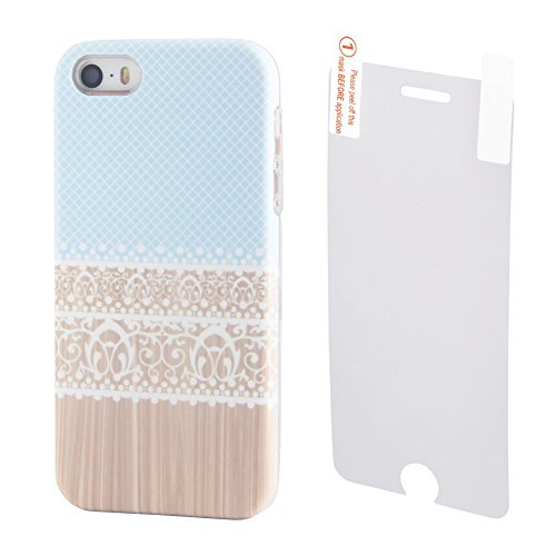 Mint Blue Lace Floral iPhone SE 5S 5 Case Ucolor Wood Print Dual-layer Hard Back+Flexible TPU Protective Cover for iPhone SE/5S/5 with [Slim Tempered Glass Screen Protector] (Wood Iphone 5 Case Blue)