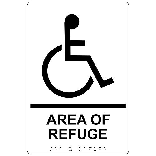 Area of Refuge Sign, ADA-Compliant Braille and Raised Letters, 9x6 inch Black on White Acrylic with Adhesive Mounting Strips by ComplianceSigns (Brillen-symbol)