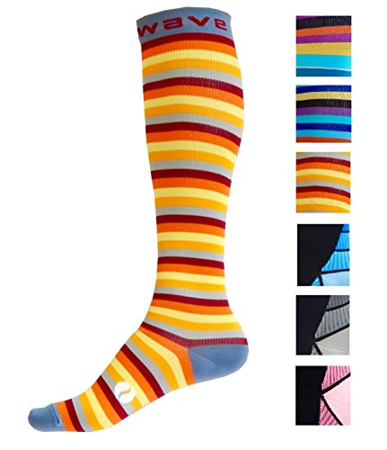 Compression Socks (1 pair) for Women & Men by Wave - Best For Running, Athletic Sports, Crossfit, Flight Travel, Maternity Pregnancy, Nursing (Sunny Stripes, - Shirts Acid Water