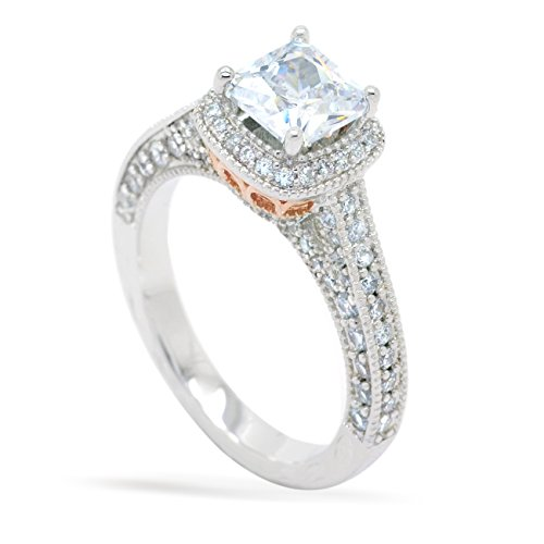 Sparkly Bride CZ Halo Vintage Engagement Ring Hand Engraved Women Size 8