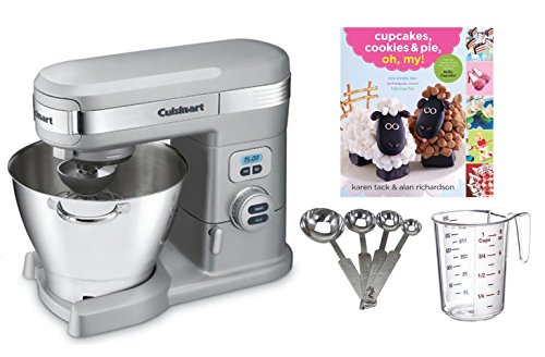 Cuisinart SM50BC 5.5-Quart Mixer, Chrome + Measuring Spoons & Cup + Cupcake Book
