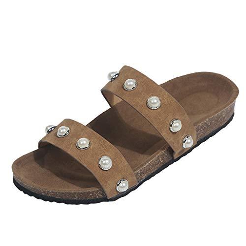 NIKAIRALEY Shoes Womens Summer Flip Flops Flat Sandals Beaded Pearl Bohean Flat Slippers Anti-Slip Beach Thong Slipper Brown