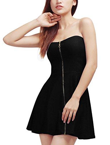 Allegra K Women Strapless Exposed Zipper Front Mini A-Line Dress XS Black