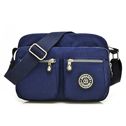 Galleon - Tiny Chou Lightweight Waterproof Nylon Shoulder Bag Compact  Crossbody Messenger Bag With Pockets Navy Blue 22797d021322e