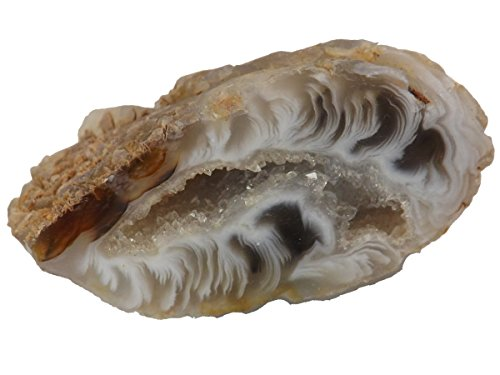 AGATE GEODE WITH CRYSTALS. One Small Polished Oco Nodule Half, a Natural Quartz Filled Stone from Brazil. Miniature-size Specimen for Collectors/Crystal/Mineral Lovers for Home Office Accent, Display