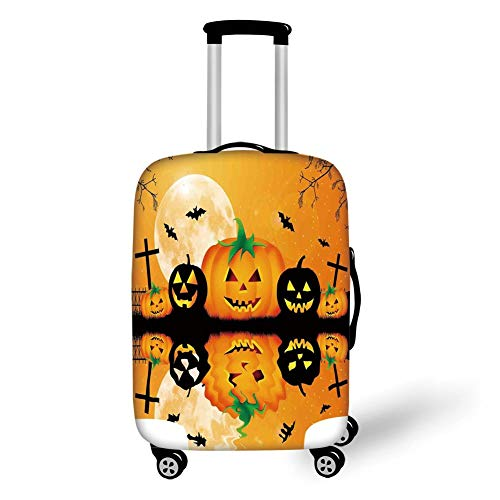 Travel Luggage Cover Suitcase Protector,Halloween Decorations,Spooky Carved Halloween Pumpkin Full Moon with Bats and Grave Lake,Orange Black,for TravelXL 29.9x39.7Inch]()