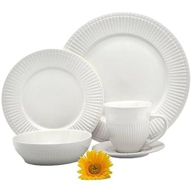Melange 40 Piece Italian Classic White Premium Dinnerware Place Setting