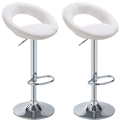 Duhome 2 PCS White Barstools Contemporary Synthetic Leather Swizzle Swivel Hydraulic Adjustable Bar Stools Kitchen Counter Top Chair #4176