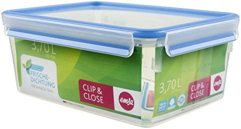 Emsa Clip & Close Conservador Hermético de Plástico Rectangular de 3,7 L, Transparente y azul